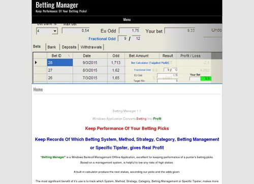 Betting Manager – Manage And Calculate Your Bets & Raise Your Profits